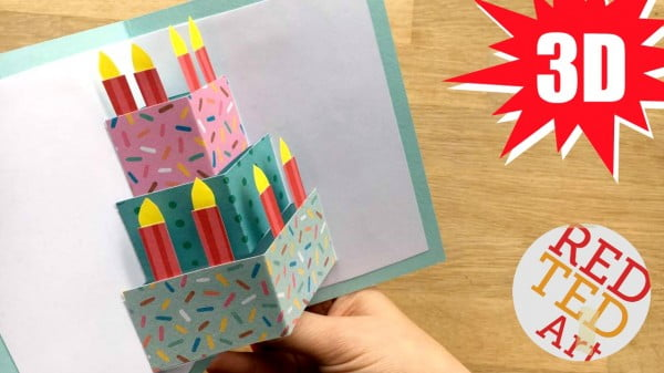 Easy Pop Up Birthday Card DIY #DIY #crafts #birthday