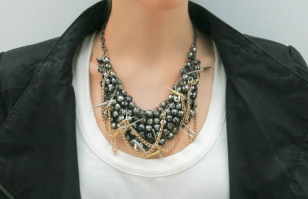 DIY Tutorial: How To Make This Badass Punk Statement Necklace #DIY #crafts #jewelry #necklace