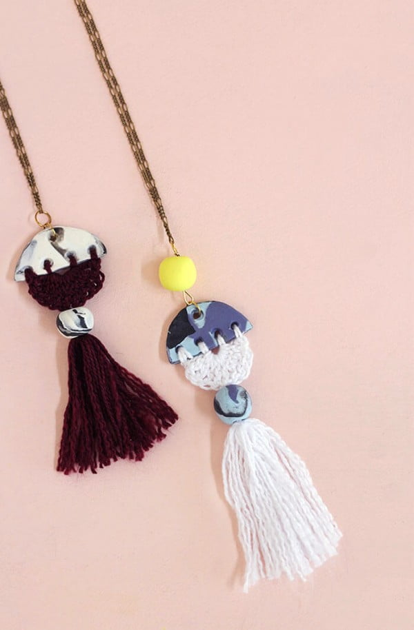 Modern Tassel DIY Necklace #DIY #crafts #jewelry #necklace
