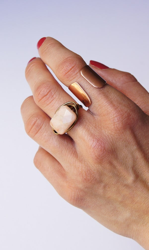 Wrapped Peach Aventurine Ring DIY via OhEverythingHandmade #DIY #jewelry #ring #crafts