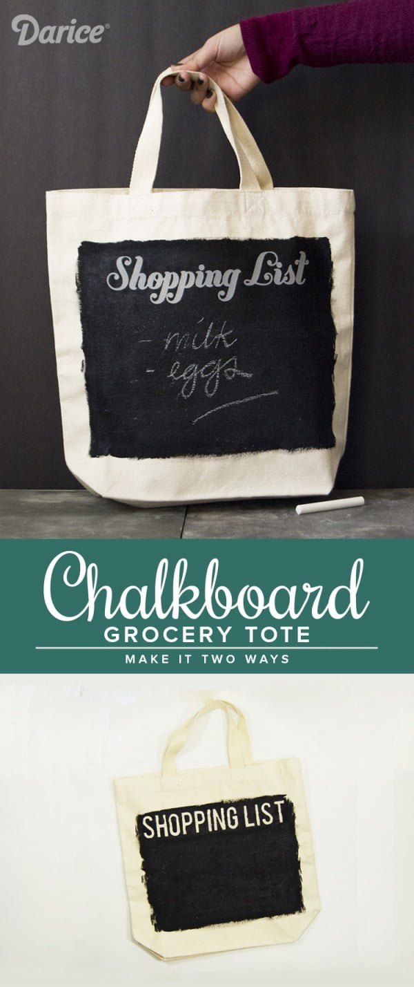 DIY Tote Bag with Chalkboard for Grocery List #DIY #craft #totebag