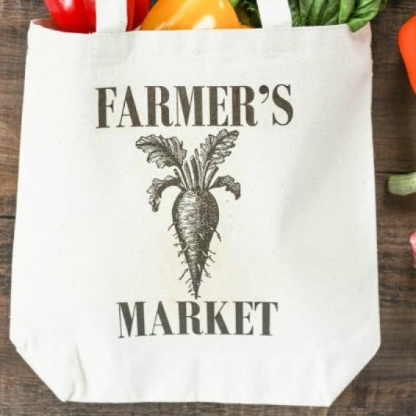 DIY Farmer's Market Tote Bag #DIY #craft #totebag