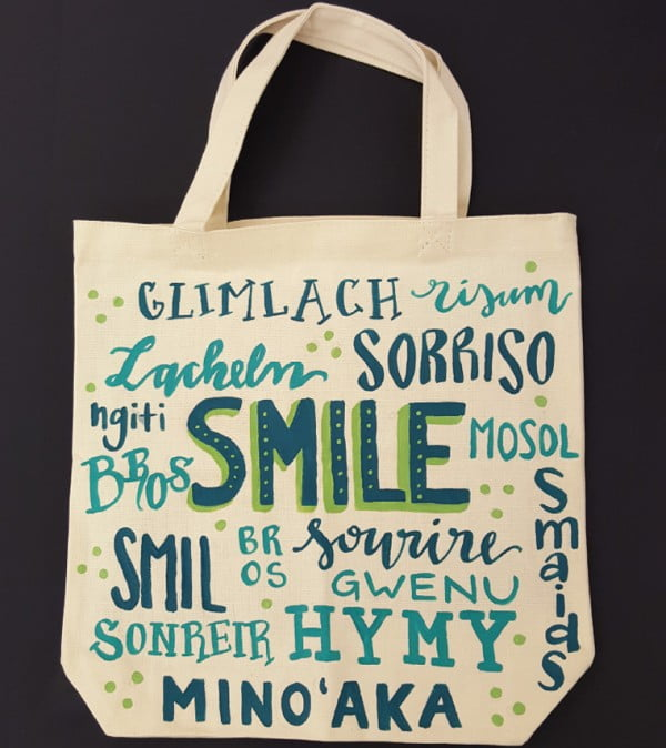 Make a DIY bag with hand lettering fabric paint for the women's march #DIY #craft #totebag