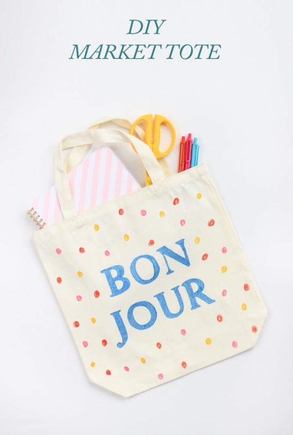 DIY Market Tote Bag #DIY #craft #totebag