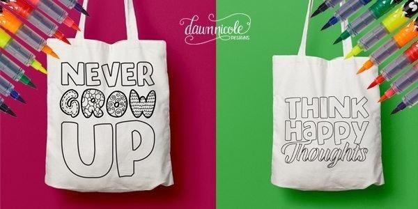 DIY Coloring Tote Bag #DIY #craft #totebag