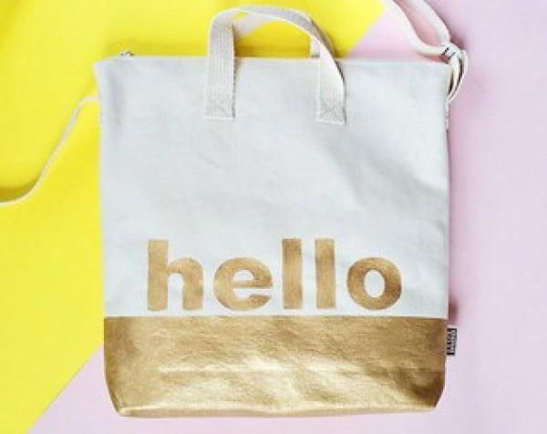 DIY GOLD DIPPED HELLO TOTE BAG #DIY #craft #totebag