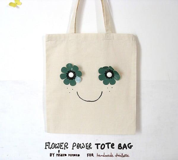 DIY Flower Power Tote Bag ⋆ Handmade Charlotte #DIY #craft #totebag
