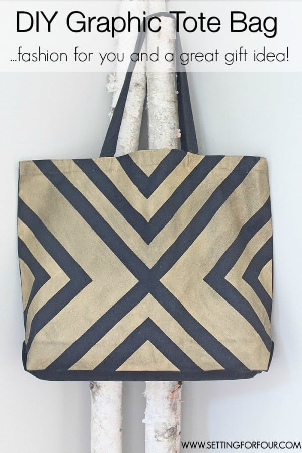 DIY Tote Bag with Black and Gold Graphic Pattern #DIY #craft #totebag