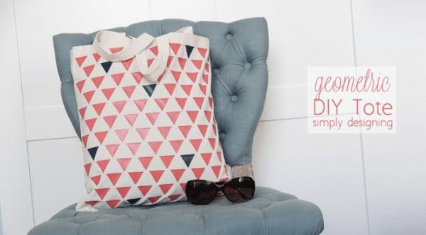 How to Make a Geometric Tote Bag #DIY #craft #totebag