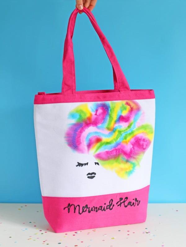 DIY Mermaid Hair Tote Bag #DIY #craft #totebag