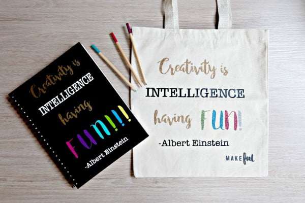 DIY Tote Bag- Creativity Is Intelligence Having Fun Quote #DIY #craft #totebag