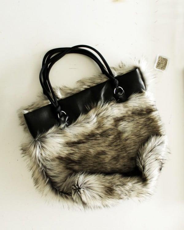 DIY Reversible Fur And Leather Easy Tote Bag Pattern #DIY #craft #totebag