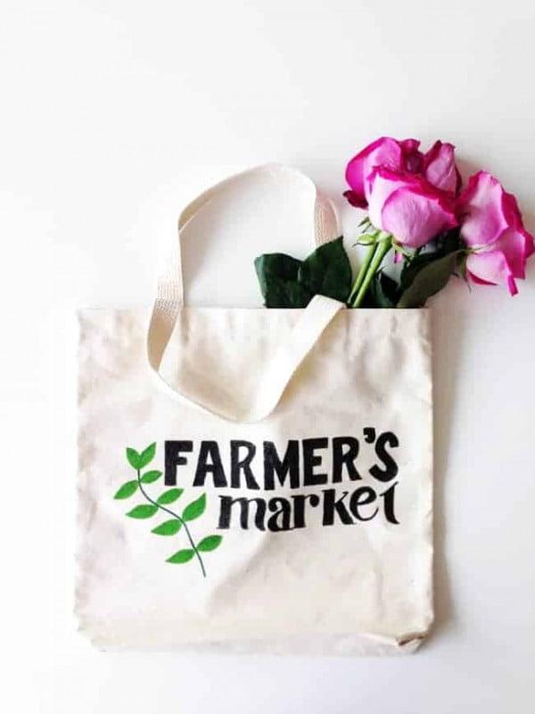Farmer's Market DIY Tote Bag #DIY #craft #totebag