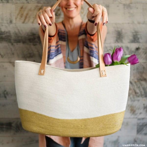 Easy DIY Rope Tote Bag Tutorial #DIY #craft #totebag
