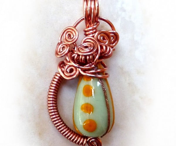 Wire Wrapped Bead Pendant #DIY #crafts #jewelry