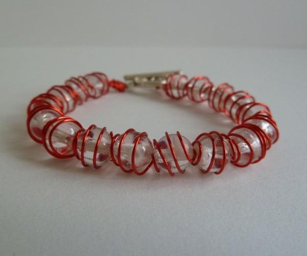 Wire Wrapped Beads Bracelet #DIY #crafts #jewelry