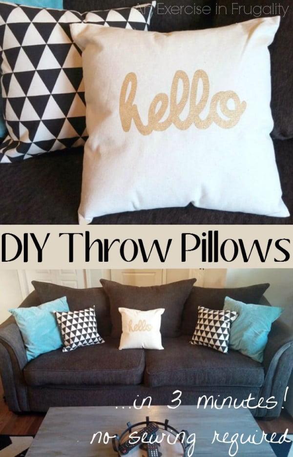DIY No Sew Throw Pillows #nosew #DIY #craft #homemade #pillow