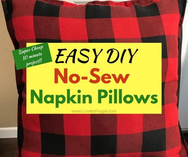 Easy DIY No Sew Napkin Pillows #nosew #DIY #craft #homemade #pillow