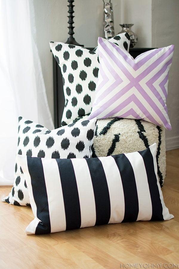 DIY No Sew Pillow Covers #nosew #DIY #craft #homemade #pillow