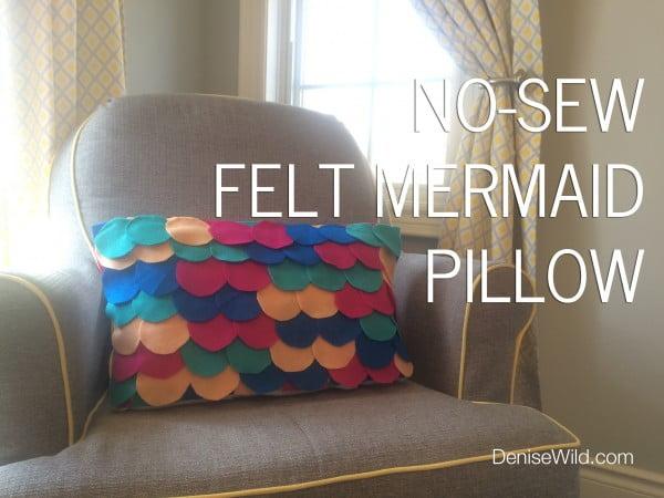 No-Sew Felt Mermaid Pillow (DIY) #nosew #DIY #craft #homemade #pillow