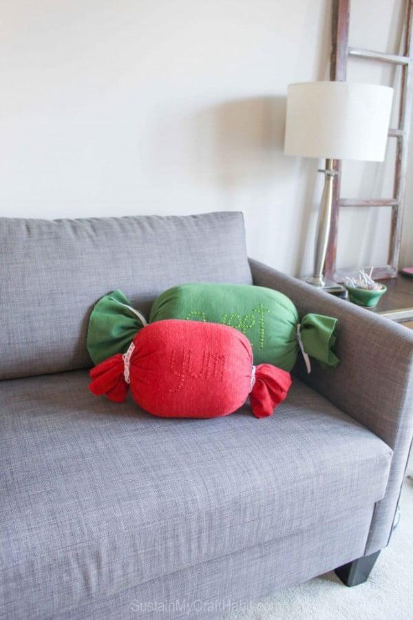 DIY No-Sew Sweet Candy Throw Pillows – Sustain My Craft Habit #nosew #DIY #craft #homemade #pillow