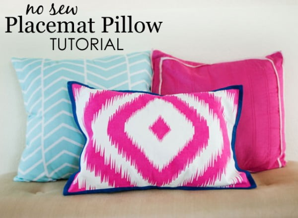 DIY: No-Sew Placemat Pillow #nosew #DIY #craft #homemade #pillow