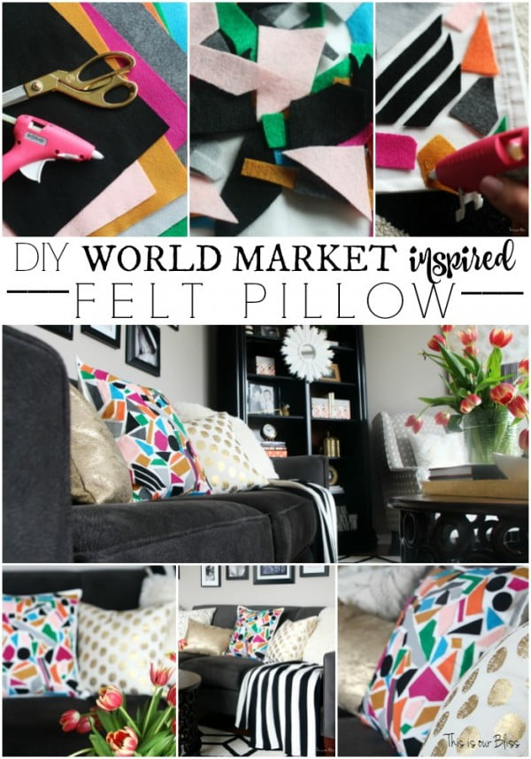 How to DIY No-sew Felt Pillow #nosew #DIY #craft #homemade #pillow