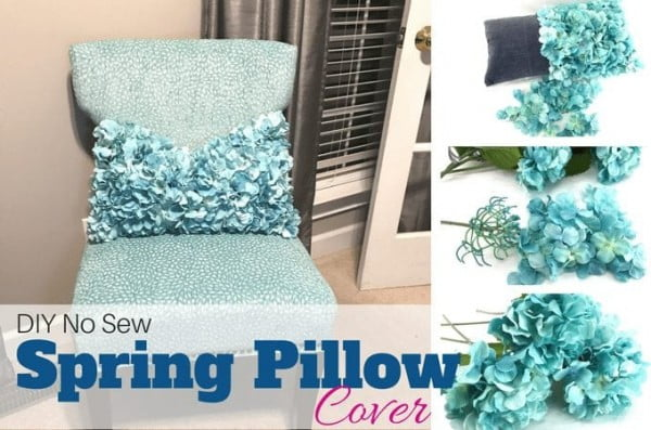 DIY No Sew Spring Pillow Cover Tutorial for Your Home #nosew #DIY #craft #homemade #pillow