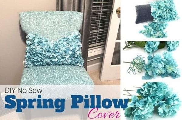 DIY No Sew Spring Pillow Cover Tutorial for Your Home #nosew #DIY #craft #homemade #pillow