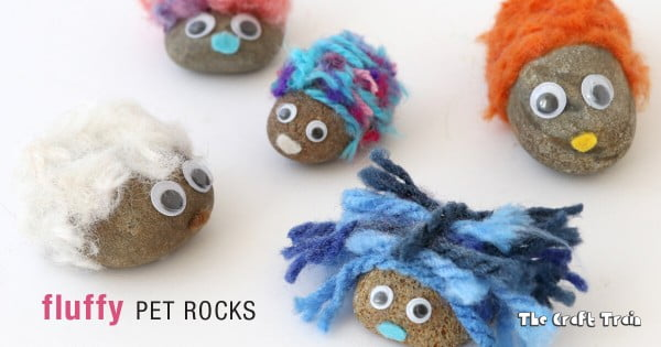 Fluffy pet rocks #DIY #craft #toys #petrock