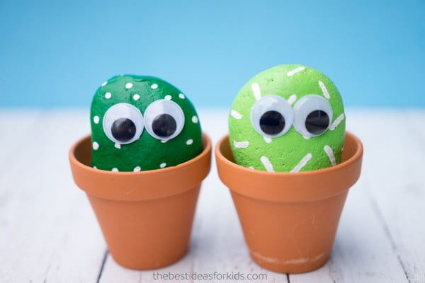 Pet Cactus Rocks #DIY #craft #toys #petrock