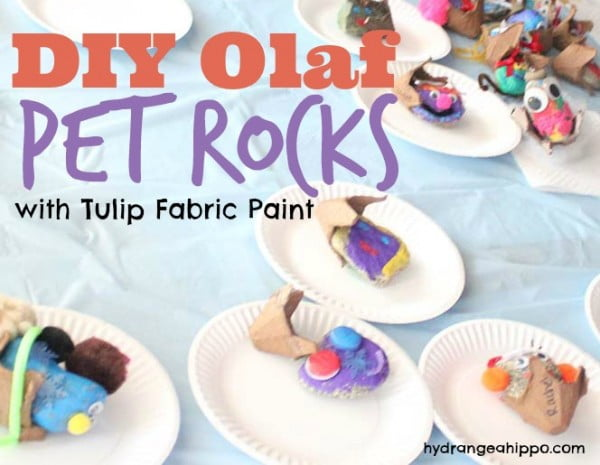 DIY Olaf Pet Rocks #DIY #craft #toys #petrock
