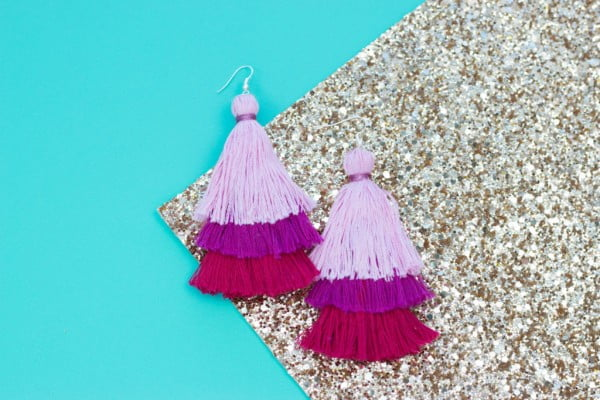 DIY Layered Tassel Earrings #DIY #jewelry #earrings #crafts