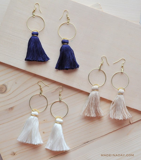 DIY Hoop Tassel Earrings #DIY #jewelry #earrings #crafts