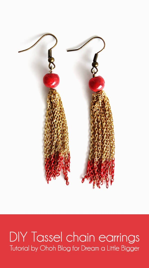 DIY tassel chain earrings #DIY #jewelry #earrings #crafts