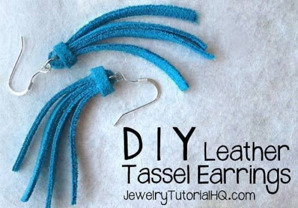 DIY Leather Tassel Earrings {Video} #DIY #jewelry #earrings #crafts