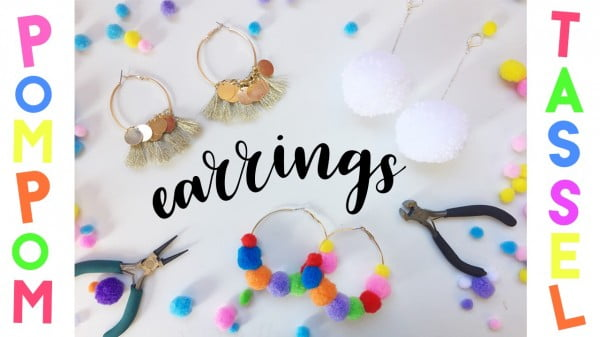 DIY Earrings Pom Pom and Tassel Earrings #DIY #jewelry #earrings #crafts