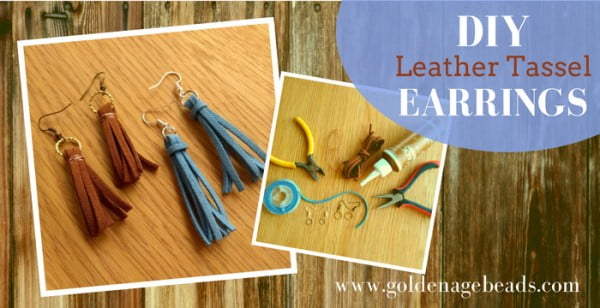 DIY Leather Tassel Earrings #DIY #jewelry #earrings #crafts