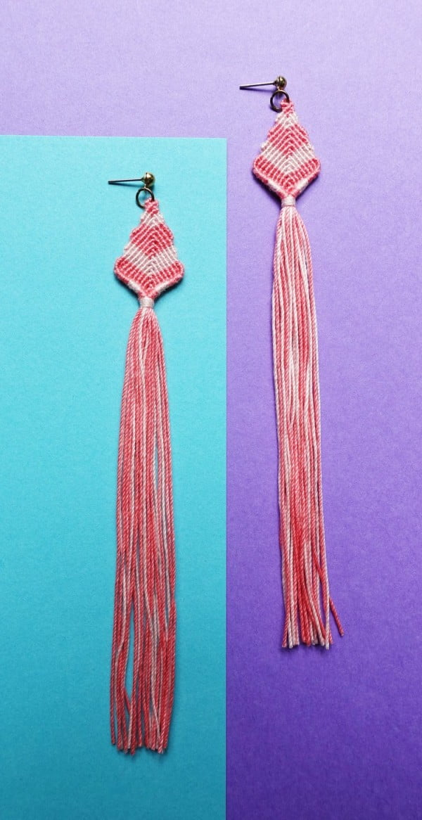 Macrame Tassel Earrings #DIY #jewelry #earrings #crafts