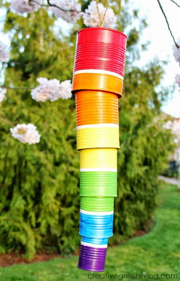 Tin Can DIY Wind Chime #DIY #crafts #windchimes