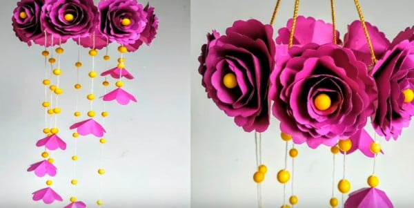DIY Wind Chime with Beautiful Paper Roses #DIY #crafts #windchimes