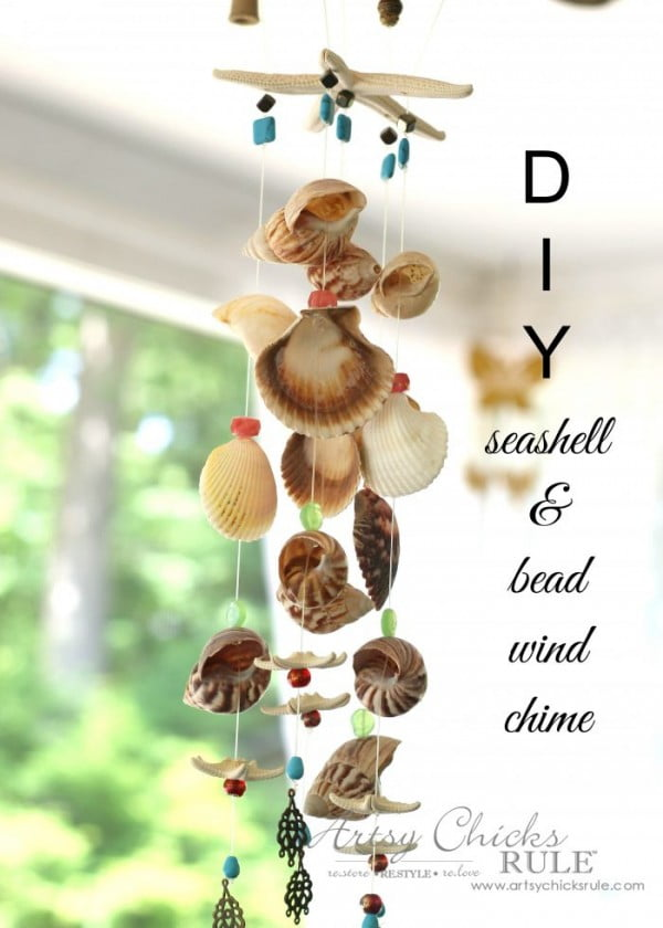 DIY Seashell & Bead Wind Chime #DIY #crafts #windchimes