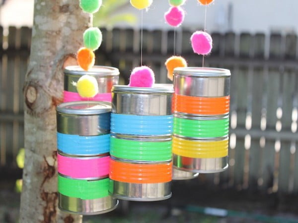 DIY Wind Chimes Made From Recycled Tin Cans #DIY #crafts #windchimes