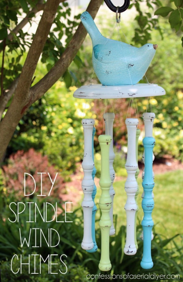 Spindle Wind Chimes #DIY #crafts #windchimes