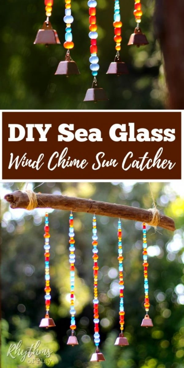 DIY Sea Glass Wind Chime Suncatcher #DIY #crafts #windchimes