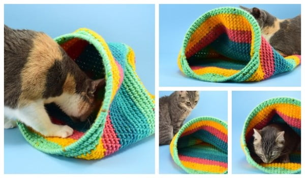 Crochet Cat Sack Hideaway Free Crochet Pattern #crochet #crochetpattern #DIY #craft