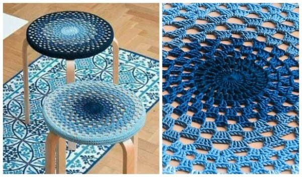 Granny Stitch Mandala Stool Cover Free Crochet Pattern #crochet #crochetpattern #DIY #craft