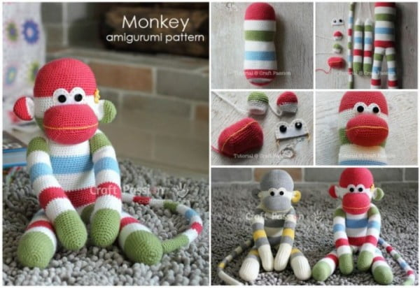 DIY Crochet Amigurumi Sock Monkey with Free Pattern #crochet #crochetpattern #DIY #craft