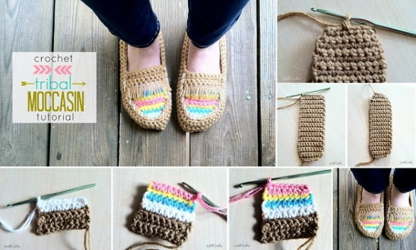 DIY Crochet Tribal Moccasin – Free Pattern #crochet #crochetpattern #DIY #craft