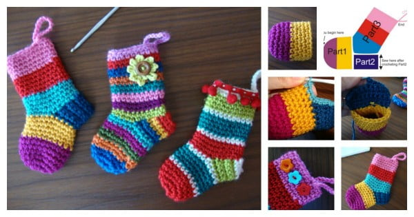 DIY Crochet Christmas Socks with Free Pattern #crochet #crochetpattern #DIY #craft
